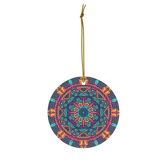 Mandala Design 3 Round Ceramic Ornaments