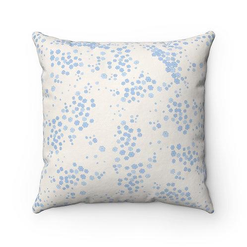Blue Dots Spun Polyester Square Pillow
