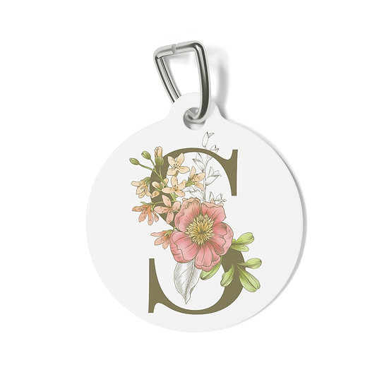 Personalized Floral Pet Tag - S