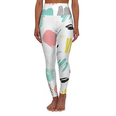 Abstract High Waisted Yoga Leggings
