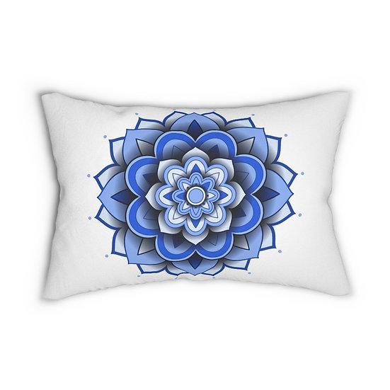 3D Blue Mandala Spun Polyester Lumbar Pillow