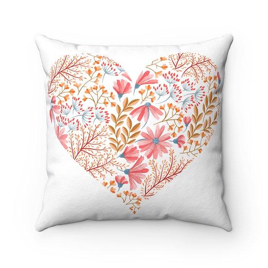 Heart Garden Spun Polyester Square Pillow