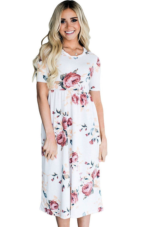 Casual Short Sleeve Pocket Design White Floral Dress