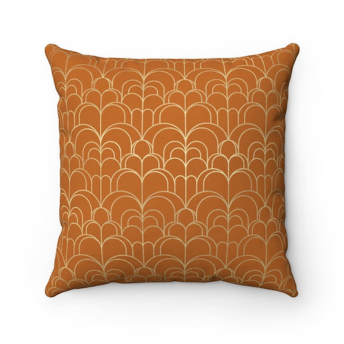 Gold Art Deco Waves/Rust Spun Polyester Square Pillow