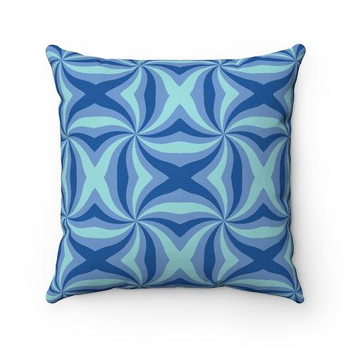 Blue Waves Geometric Spun Polyester Square Pillow