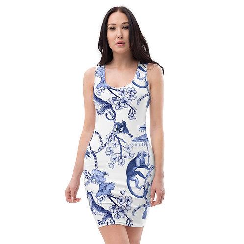 Blue Jungle Toile  Dress