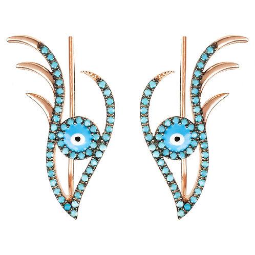 Evil Eye Ear Climber Turquoise Rosegold