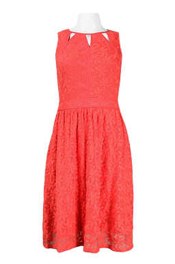 Adrianna Papell Day Cutout Neckline Fit and Flare Embroidered Mesh