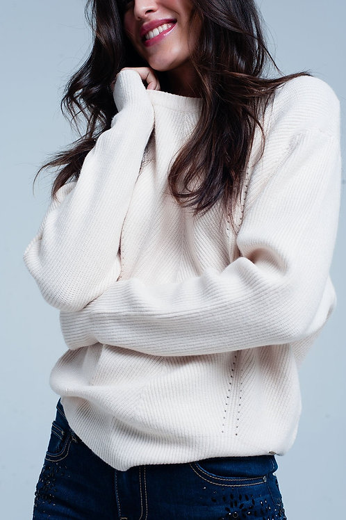 Beige Textured Sweater With Round Neck