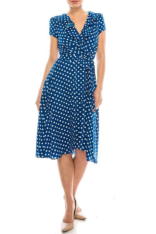 Gabby Skye Cobalt Ivory Polka Dotted Faux Wrap Dress