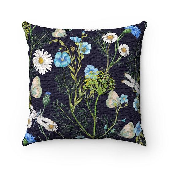 Botanica on Black Spun Polyester Square Pillow