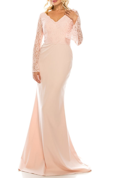 Odrella Pink Beaded Lace & Crepe Sheath Evening Gown