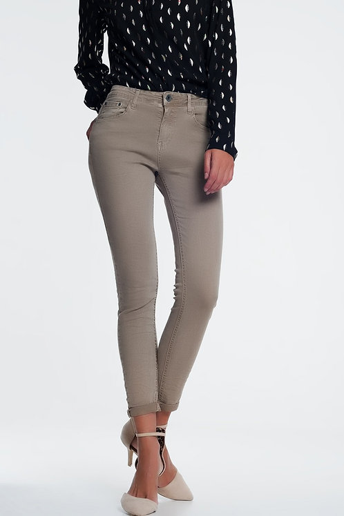 High Waist Skinny Jeans in Beige