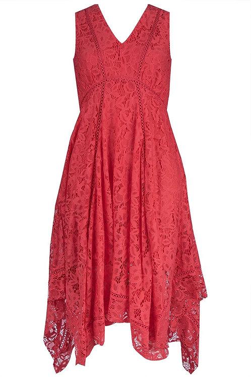 J Taylor Sleeveless V-Neck Lace Midi Dress