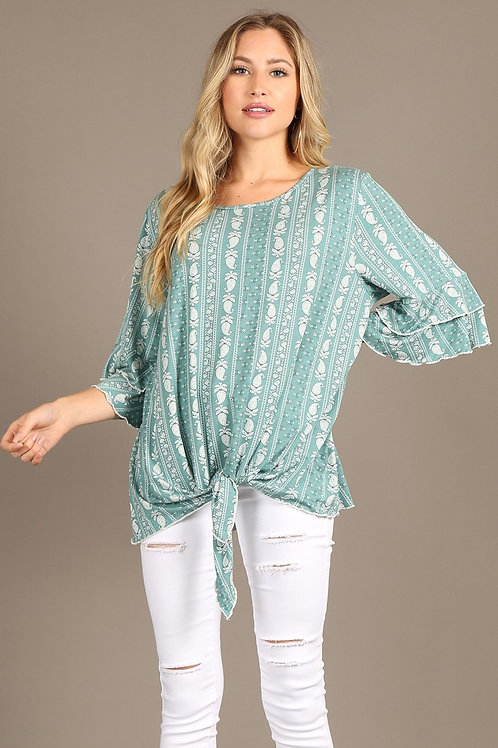 Top, short double tiered bell sleeves, waist tie, relaxed fit.1260
