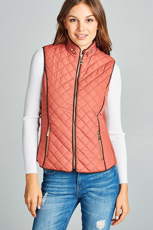 Salmon - Faux Shearling Quilted Vest