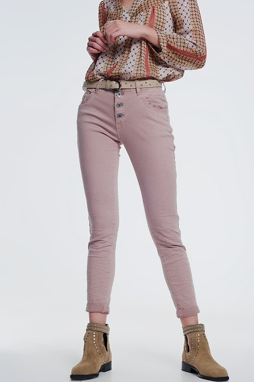 Balloon Leg Boyfriend Jeans in Pink