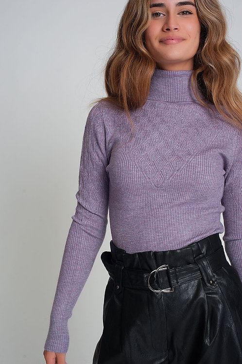 Soft Knitted Turtleneck Fitted Sweater in Purple