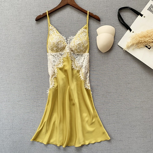 Satin Lace Gold Babydoll Lingerie