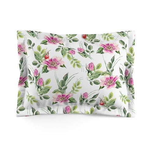 Pink Floral Sprigs Microfiber Pillow Sham
