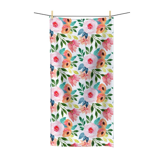 Pink and Peach Floral Bathroom Towels