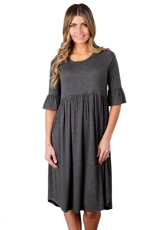 Casual Gray Ruffle Half Sleeve Midi Jersey Dress