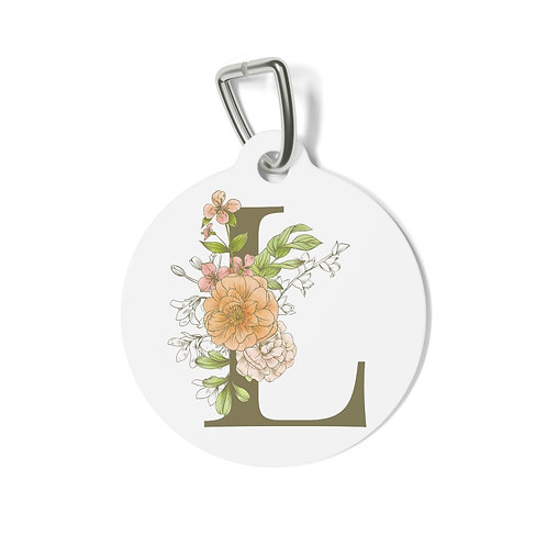Personalized Floral Pet Tag - L