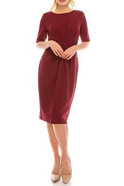 Adrianna Papell Dark Scarlet Scuba Crepe Pleated Draped Dress