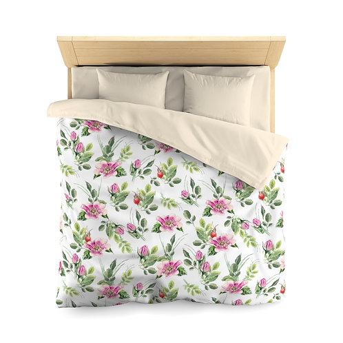 Pink Bouquet Sprigs Microfiber Duvet Cover (Queen Only)