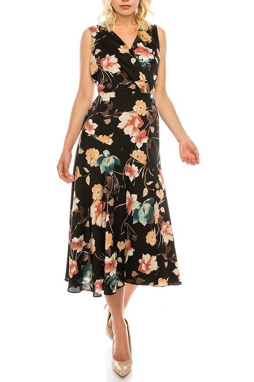 Maggy London Black Coral Floral Printed Faux Wrap Dress