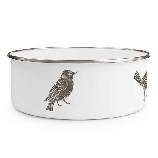 Antique Ornithologist  Enamel Bowl