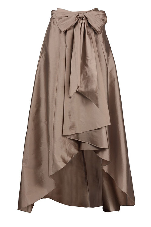 Adrianna Papell Mid Waist Tie Waist Pleated High Low Hem Tafetta