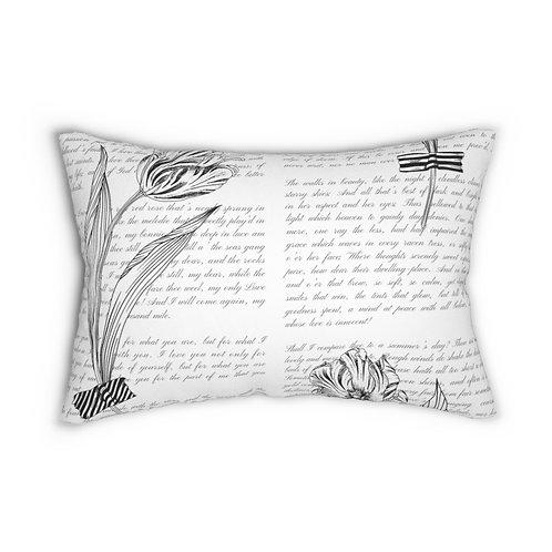 Garden Sketches with Handwriting  Spun Polyester Lumbar Pillow