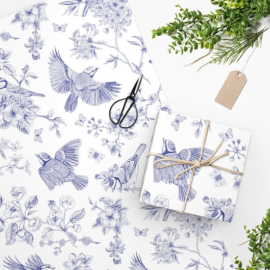 Blue Bird Toile Wrapping Paper