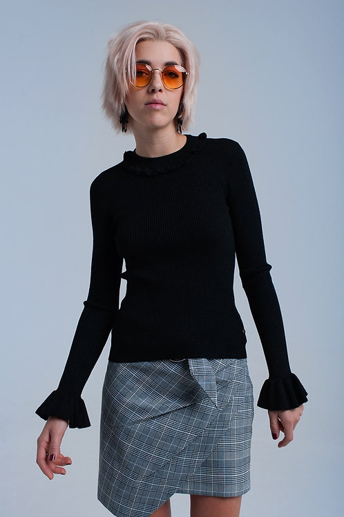 Black Shiny Sweater With Ruffle