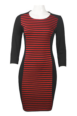 3/4 Sleeve Horizontal Stripe Ponte Sheath Dress. By Spense.
