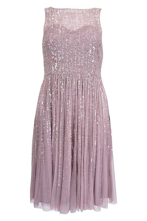 Aidan Mattox Moonstone Sequin Cocktail Dress