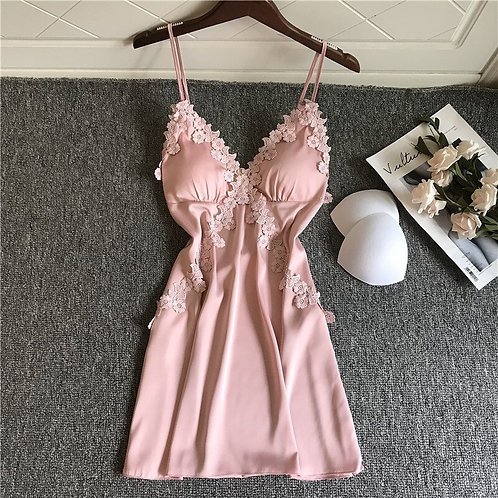 Lace Detail Pink Babydoll Lingerie