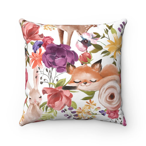 Forest Animals Spun Polyester Square Pillow