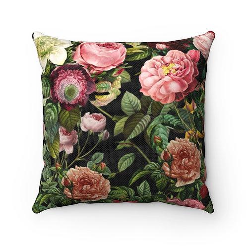 Lovely English Garden (on black) Spun Polyester Square Pillow