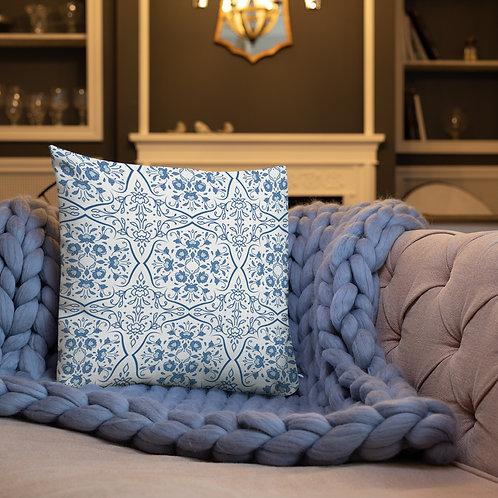 Blue Italian Tiles Premium Pillow