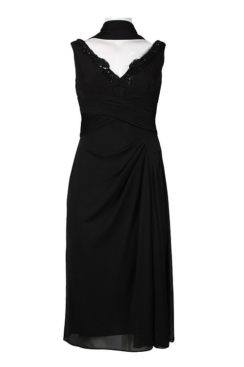 Alex Evenings Beaded Neckline Draped Chiffon Dress (Petite)
