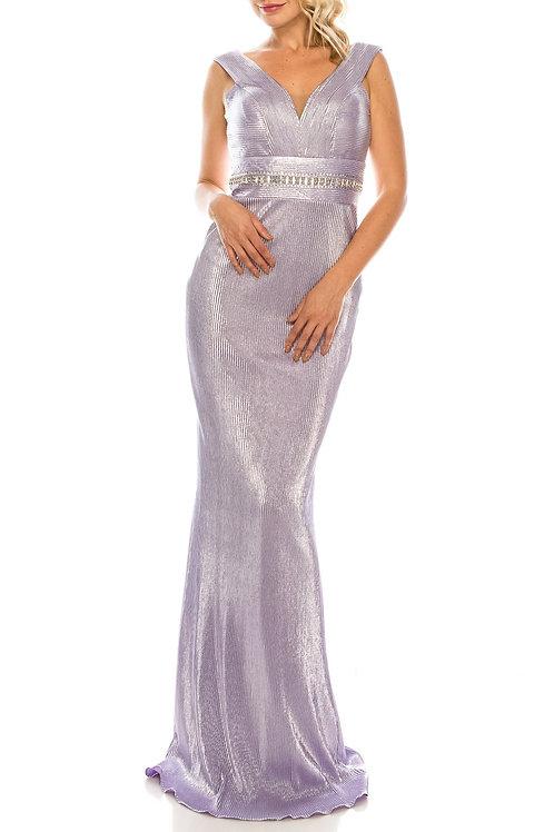 Odrella Lilac Ribbed Sleeveless Sheath Evening Gown