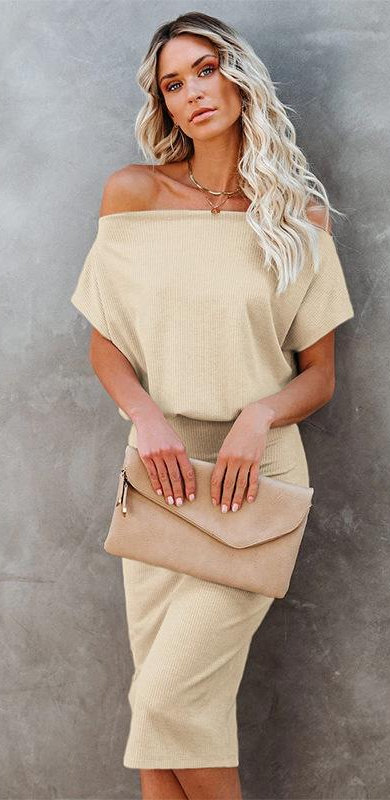 Slash Neck Off Shoulder Sexy Slim Midi Dresses