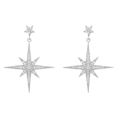 Large Star burst Drop Earring Silver