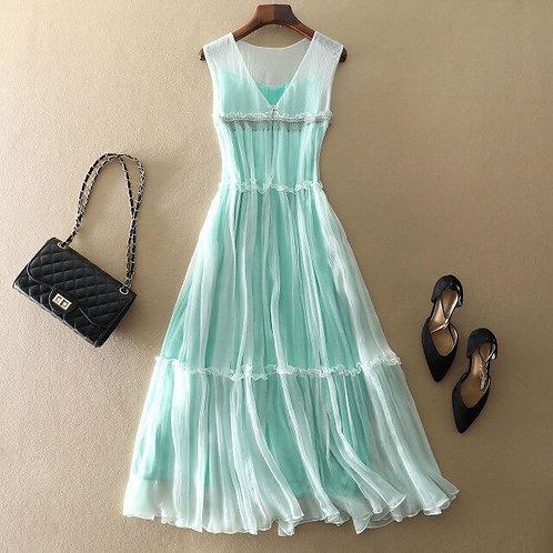 White/Green Natural Silk Dress Women Vacation Elegant Ruffles V neck