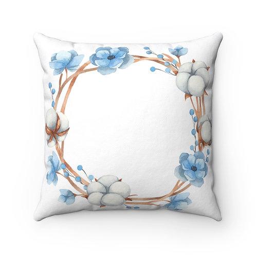 Anemone/Cotton Wreath Spun Polyester Square Pillow