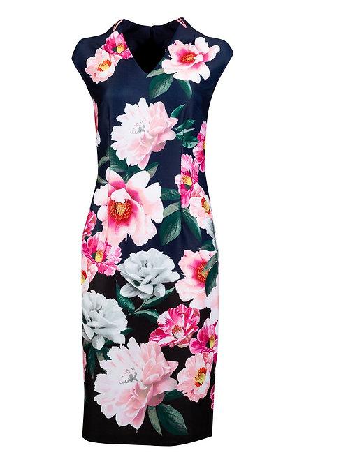 An elegant, vibrant cap sleeve crepe shift dress with V neckline and