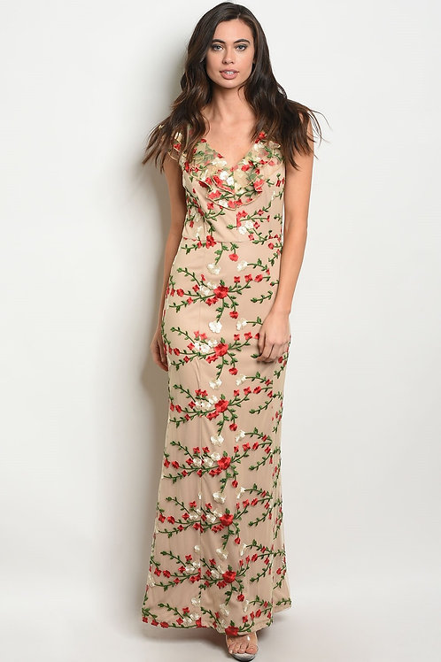 Womens Flower Embroidery Dress