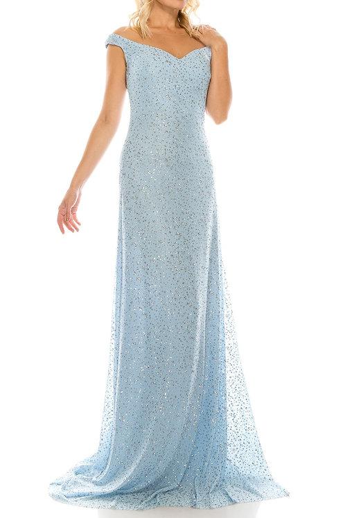 Odrella Blue Glittery Mesh Illusion Portrait Neckline Evening Dress